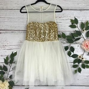 ASOS 6 Sequin Gold Mesh Mini Formal Tulle Dress
